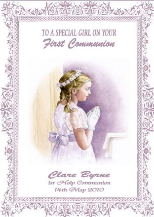 Personalised Girl Communion Card Design 2